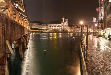 jesuit: Chapel Bridge (Kappelbruecke) with Jesuit Church at night, Lucerne, Switzerland
