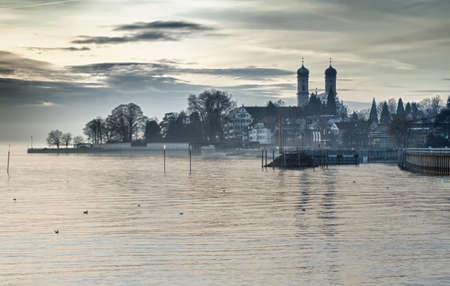 friedrichshafen: Bodensee (Lake Constance) with Schlosskirche (church) of Friedrichshafen, Germany Stock Photo