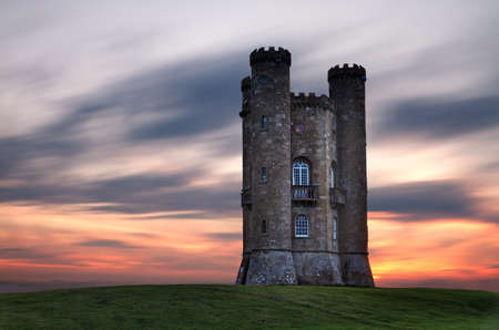 broadway tower: Broadway Tower at dusk, Cotswolds, UK