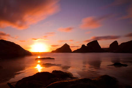 Bedruthan Steps at sunset, Cornwall, England Stock Photo - 12834510