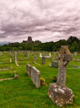 churchyard: Corfe Castle with cemetery, Dorset, England