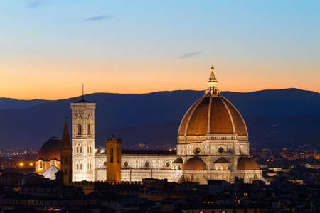 fiore: Florence Cathdral at twilligt, Tuscany, Italy