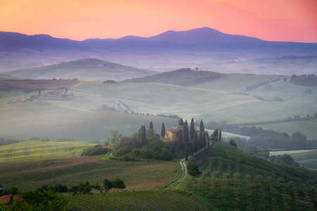 Tuscany Farmhouse Belvedere at dawn, San Quirico d