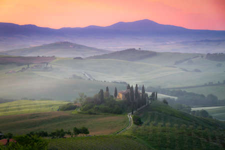 Tuscany Farmhouse Belvedere at dawn, San Quirico d photo