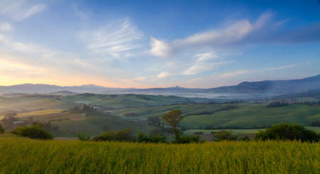 agriturismo: Morning mist in Val dOrcia near San Quirico, Tuscany, Italy