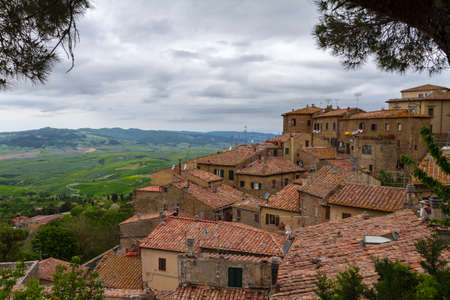 val d'orcia: Volterra and view over Val dOrcia, Tuscany, Italy Stock Photo