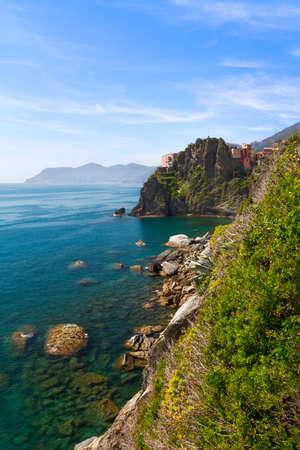 toskana: Coastline at Manarola, Cinque Terre, Italy Stock Photo
