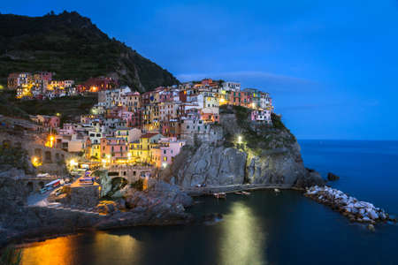 Village of Manarola at night, Cinque Terre, Italy photo