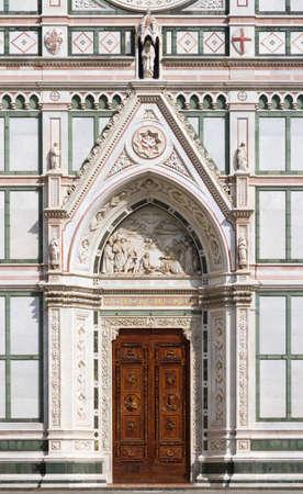 toskana: Entrance of Basilica of Santa Croce, Florence, Italy Stock Photo