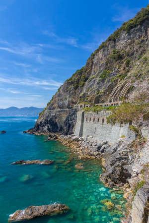 toskana: Coastline in Cinque Terre with Via DellAmore, Italy Stock Photo