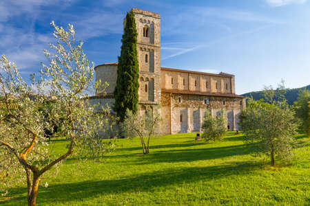 antimo: Sant Antimo Abbey near Montalcino, Tuscany, Italy Stock Photo