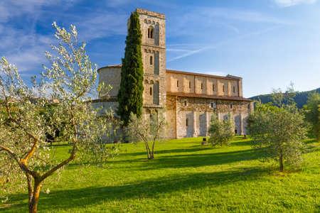 montalcino: Sant Antimo Abbey near Montalcino, Tuscany, Italy Stock Photo