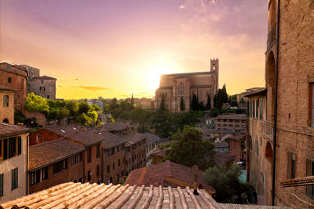 siena italy: Historical town of Siena with San Domenico, Tuscany, Italy