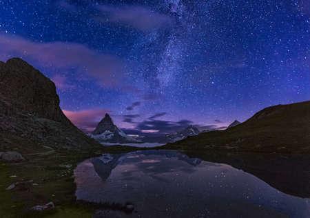 Matterhorn with Riffelsee at night, Zermatt, Alps, Switzerland