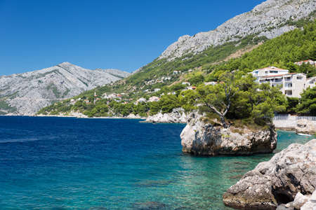 Croatian beach at a sunny day, Brela, Croatia photo
