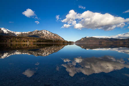 Reflection in Walchensee, German Alps, Bavaria, Germany