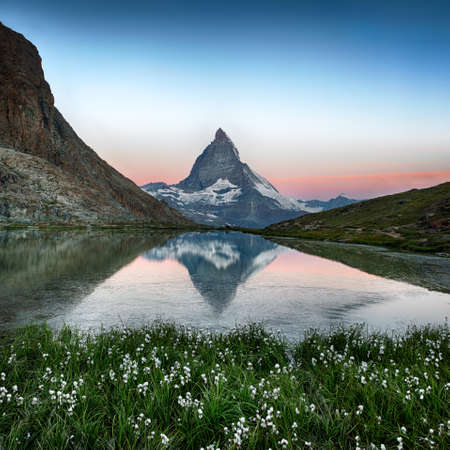 Matterhorn reflection in Riffelsee with flowers, Zermatt, Alps, Switzerland photo
