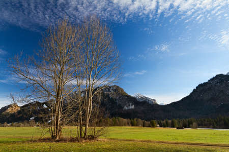 schwangau: Bavarian Alps with Neuschwanstein Castle, Germany Stock Photo
