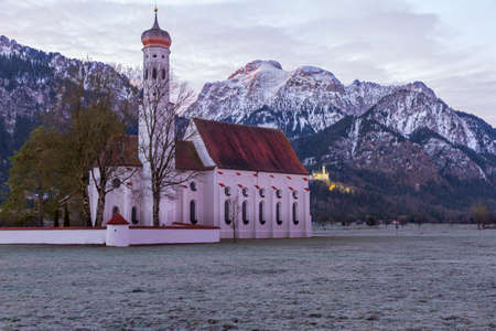 schwangau: St  Coloman church in the morning, Alps, Bavaria, Germany