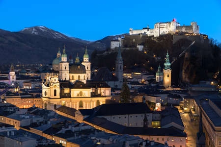 Salzburg skyline after sunset, Austria photo