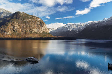 Lake Hallstatt in Alps with Ferry, Salzkammergut, Austria