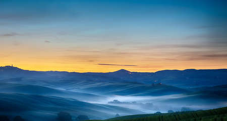Tuscany landscape at dawn, Pienza, Val d