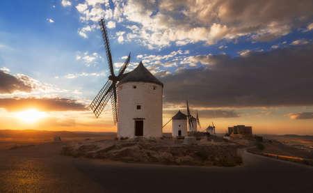 don quixote: Windmills at sunset, Consuegra, Castile-La Mancha, Spain Stock Photo