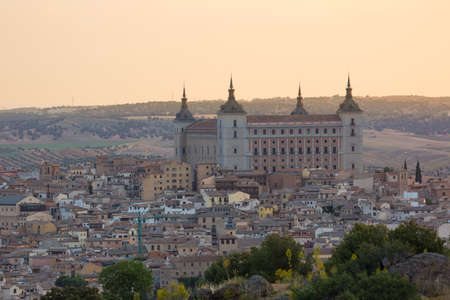 toledo town: Historic town of Toledo with fortress Alcazar, Spain Stock Photo