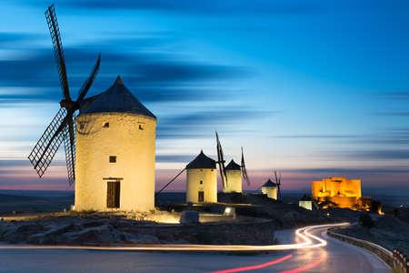 don quixote: Windmills after sunset, Consuegra, Castile-La Mancha, Spain