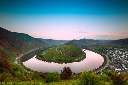 mosel: Mosel Bend  Moselschleife  at dawn, Germany Stock Photo