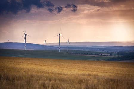 far off: Wind generators near Alzey, Pfalz, Germany