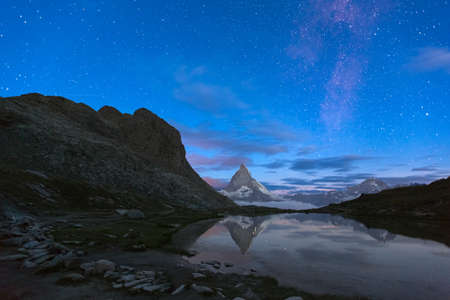 Matterhorn with Riffelsee before dawn, Zermatt, Alps, Switzerland