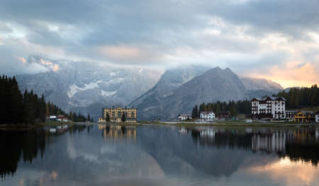 Reflection at Lago Misurina at dawn, Dolomites, Italian Alps photo