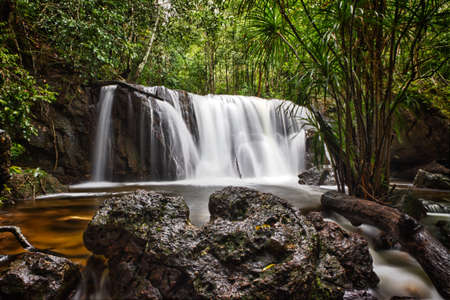 far off: Suoi Tranh waterfall in Phu Quoc, Vietnam Stock Photo