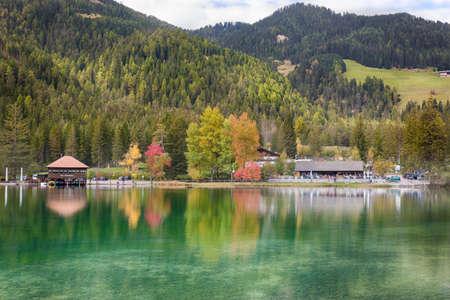 Autumn at Lago di Dobbiaco (Toblacher See), Dolomites, Alps, Italy