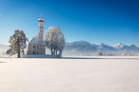 schwangau: St. Coloman at a sunny winter day, Allgäu, Germany