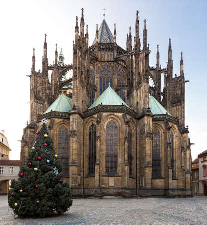 PRAGUE, CZECH REPUBLIK - JANUARY 04, 2014: St. Vitus Cathedral with Christmas tree Editorial
