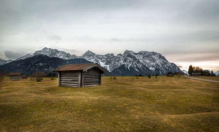cropland: Barn in Alps near Kr�n, Buckelwiesen, Germany Stock Photo