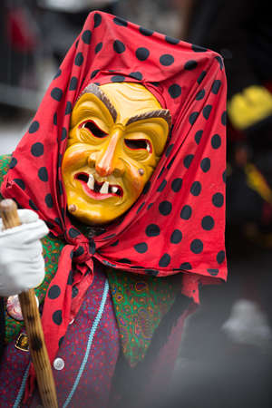 terrify: KARLSRUHE, GERMANY - FEBRUARY 15, 2015: Carnival procession in Durlach (Baden) with traditional masks