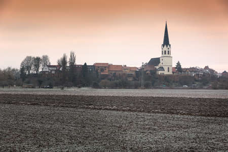 cropland: Rural landscape at a frosty morning, Pfalz, Jockgrim, Germany