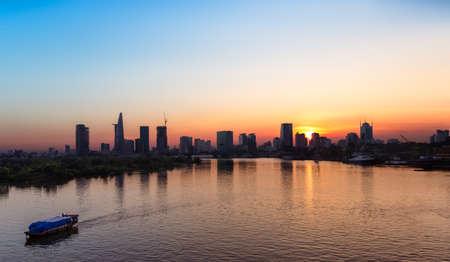 Saigon Skyline at sunset, Vietnam