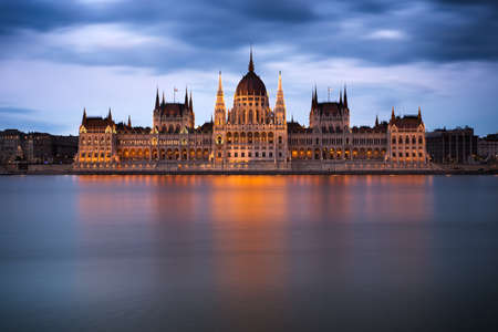 river bank: Hungarian Parliament Building at dawn, Budapest Stock Photo