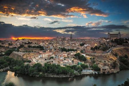 Panoramic view of Toledo at dusk CastileLa Mancha Spain