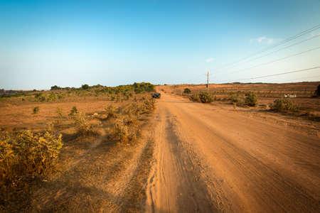 ne: Dirt track in Mui Ne near White Sand Dunes, Vietnam Stock Photo
