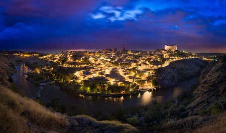toledo: Toledo skyline after sunset, Castilla-La Mancha, Spain