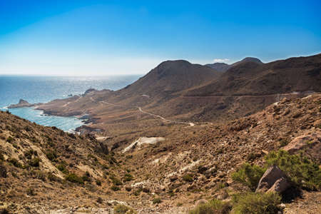 is cloudless: Cloudless skies at Cabo del Gato, Almeria, Spain