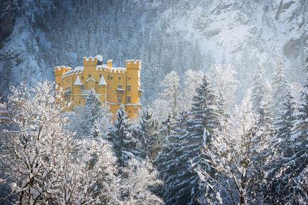 wintery: Hohenschwangau Castle in wintery landscape, Germany