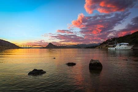 krk: Krk bridge at dusk with colorful sky, Croatia