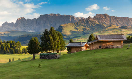 far off: Chalets at Seiser Alm, South Tyrol, Italy Stock Photo