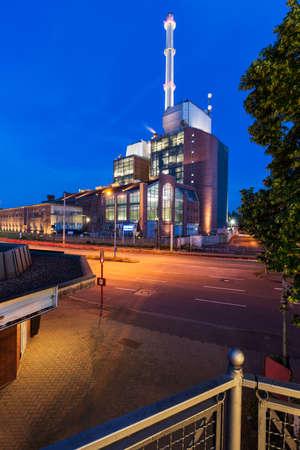 karlsruhe: Power plant at dawn, Karlsruhe, Germany Stock Photo